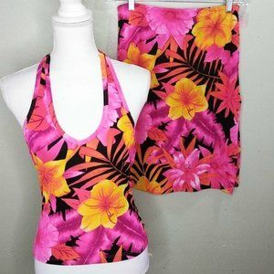 Hawaiian Floral Print Skort & Halter Set Jr. XL